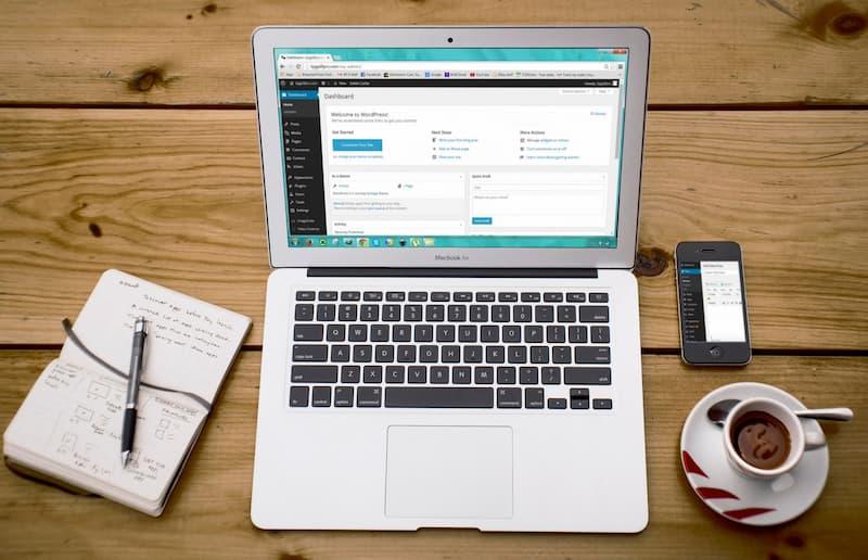 WordPress administration dashboard on laptop